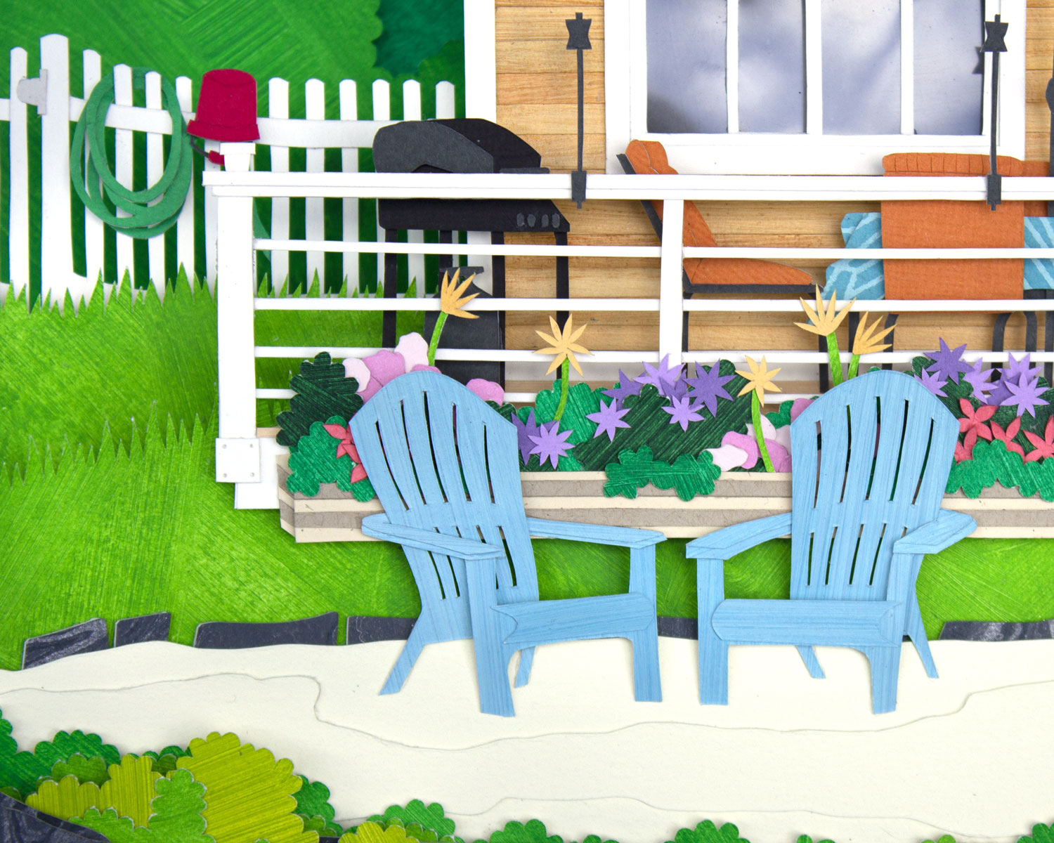 Lakehouse: Chairs, grill, flowers, and fencing detailing
