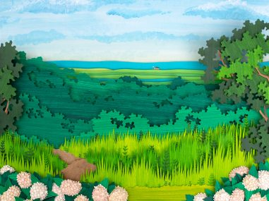Paper illustration of landscape depicting hydrangeas and a view of the ocean.